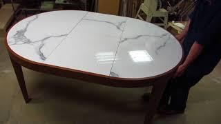 Обзорное видео круглого раздвижного стола из дуба со столешницей из керамогранита
