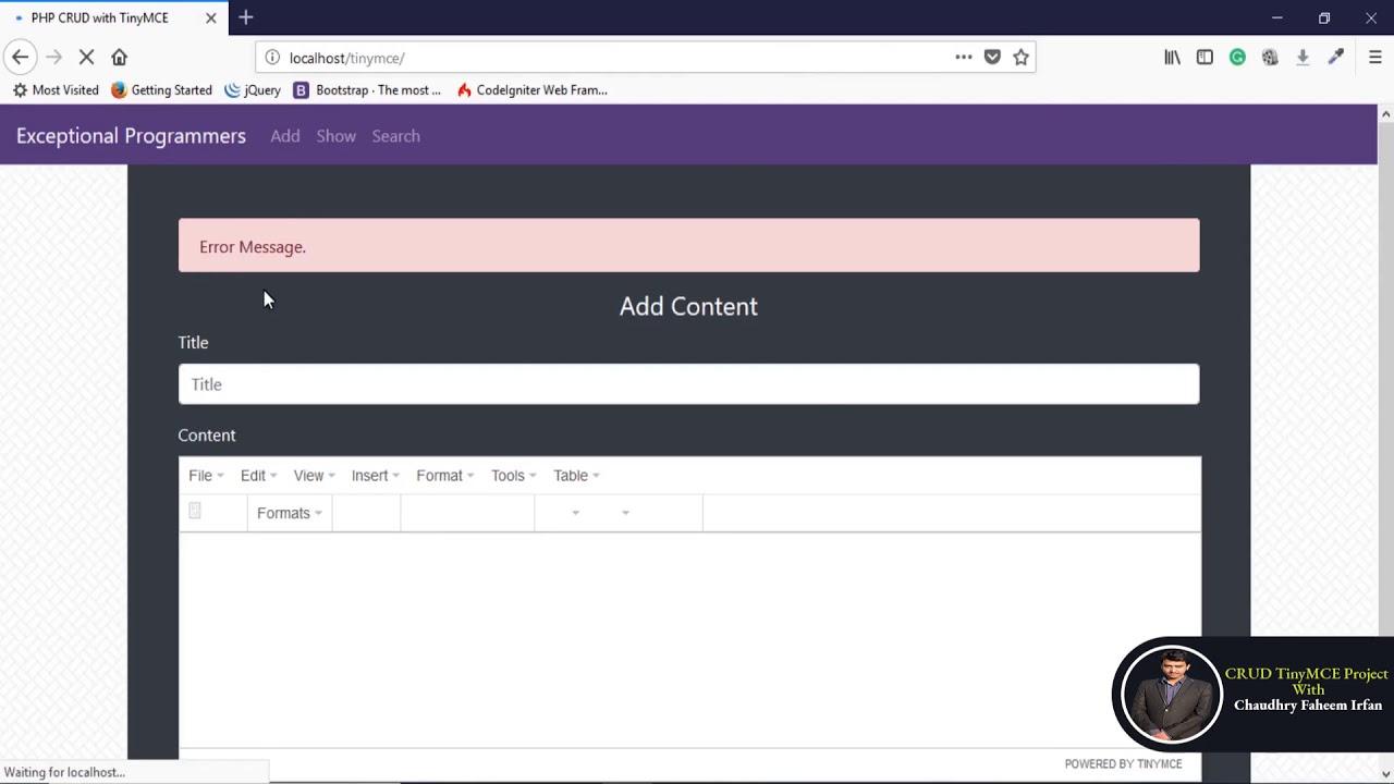 4 Insert Data into Database using TinyMCE wysiwyg editor | PHP, Bootstrap &  MySQL CRUD in Hindi/Urdu