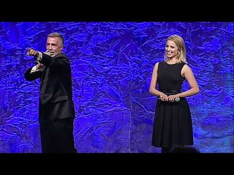 Dianna Agron auctions off a kiss at the glaadawards