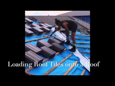 loading roof tiles onto a roof youtube