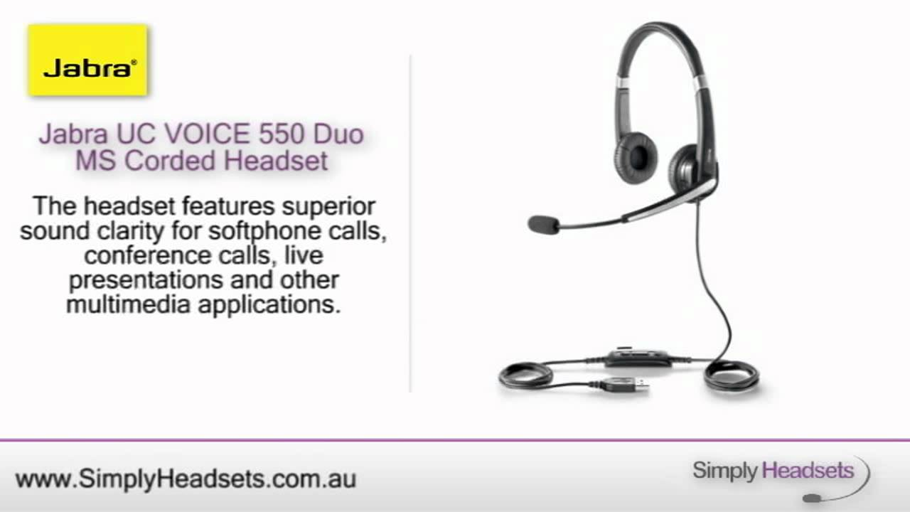 Jabra UC VOICE 550 Duo MS Corded Headset Video Overview - YouTube