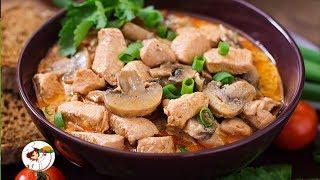 Невероятно вкусное Мясо с грибами на сковороде. Пошаговый рецепт приготовления.