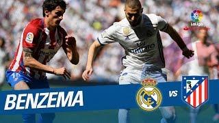 Pase de Cristiano para el remate de Benzema parado por Oblak