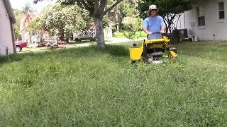Lawn care vlog #48 Extra thick yard clean up - Tall grass mowing