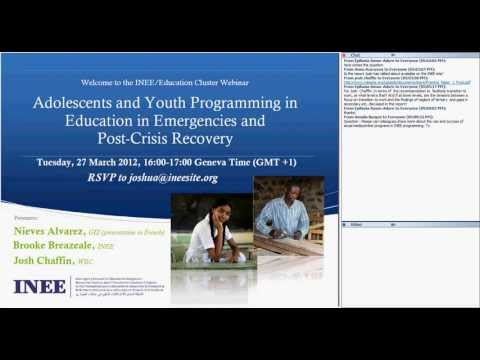 Adolescents and Youth Programming in Education in Emergencies