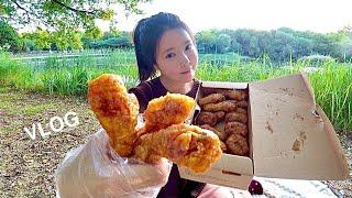 먹방 브이로그 : 교촌치킨 허니콤보 짜장면 짬뽕 탕수육…