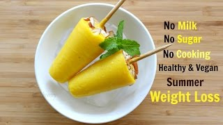 Mango Coconut Popsicles - Ice Lolly - Frozen Mango Ice Pops For Weight Loss - Kids Healthy Recipes