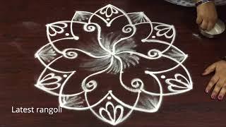 simple rangoli design 5x3 middle dots || easy rangoli designs || simple kolam