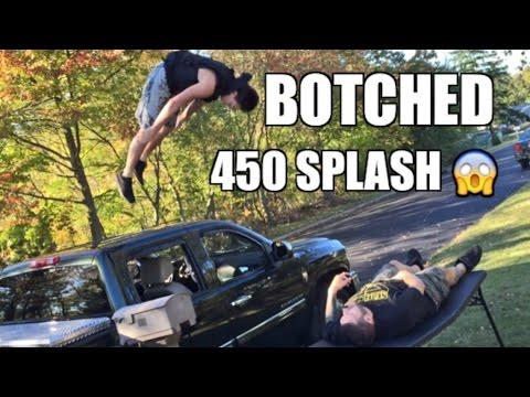 BOTCHED 450 SPLASH! Backyard Wrestling Table Match Duhop vs Grims NEPHEW!