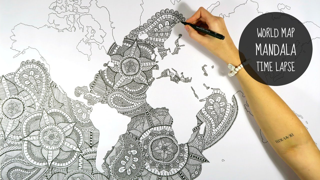 WORLD MAP MANDALA SPEED DRAWING YouTube - Mandala map of the world