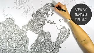 WORLD MAP MANDALA | SPEED DRAWING