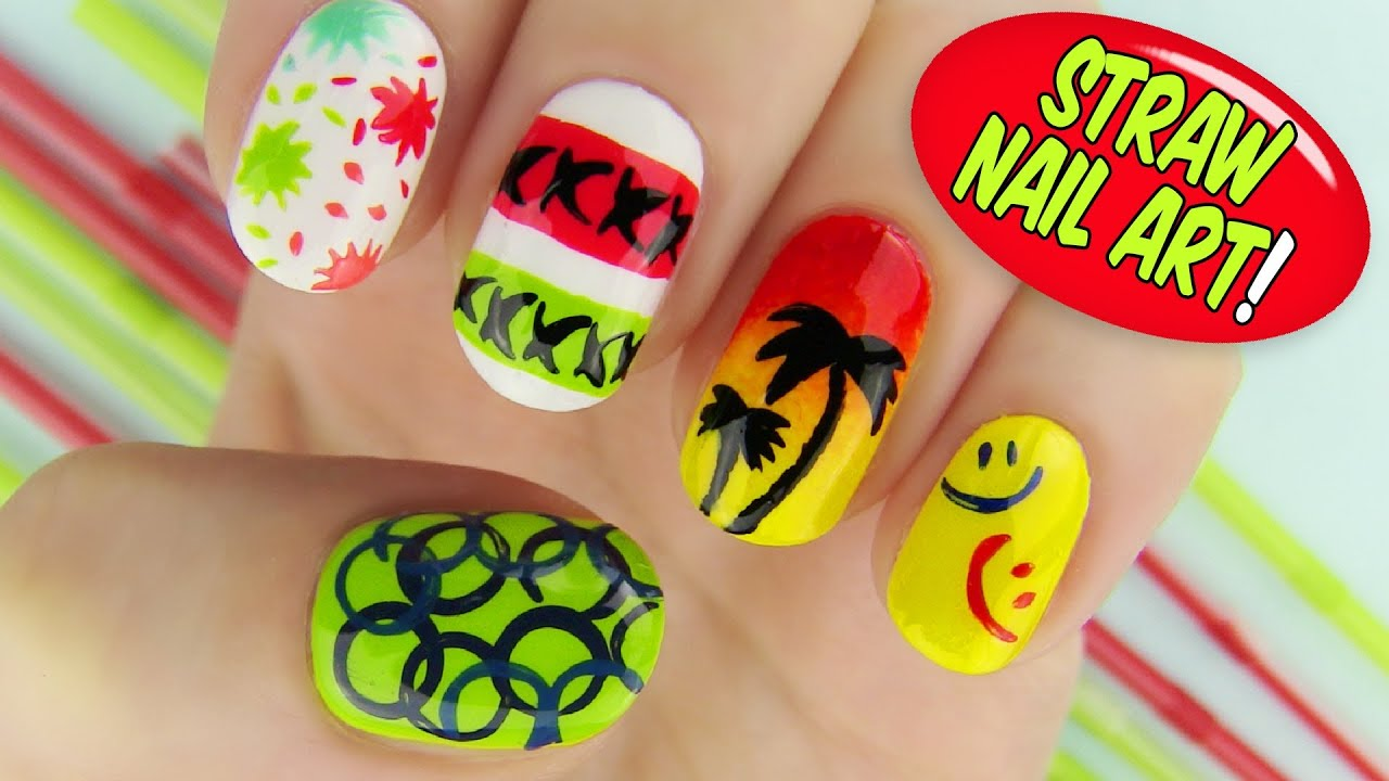 straw nail art! 6 creative nail art designs using a straw - youtube