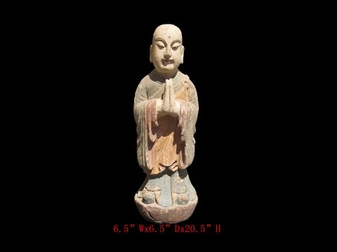 Chinese Antique Standing Monk Wood Hand Carving Statue WK2869