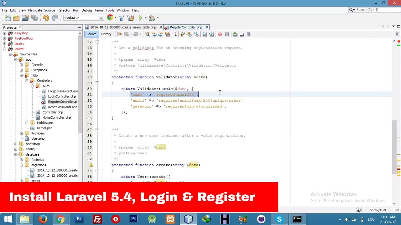 [2017] Install Laravel 5 4 || Login & Register || URL Slug || Social  networking Tutorial - Part 1