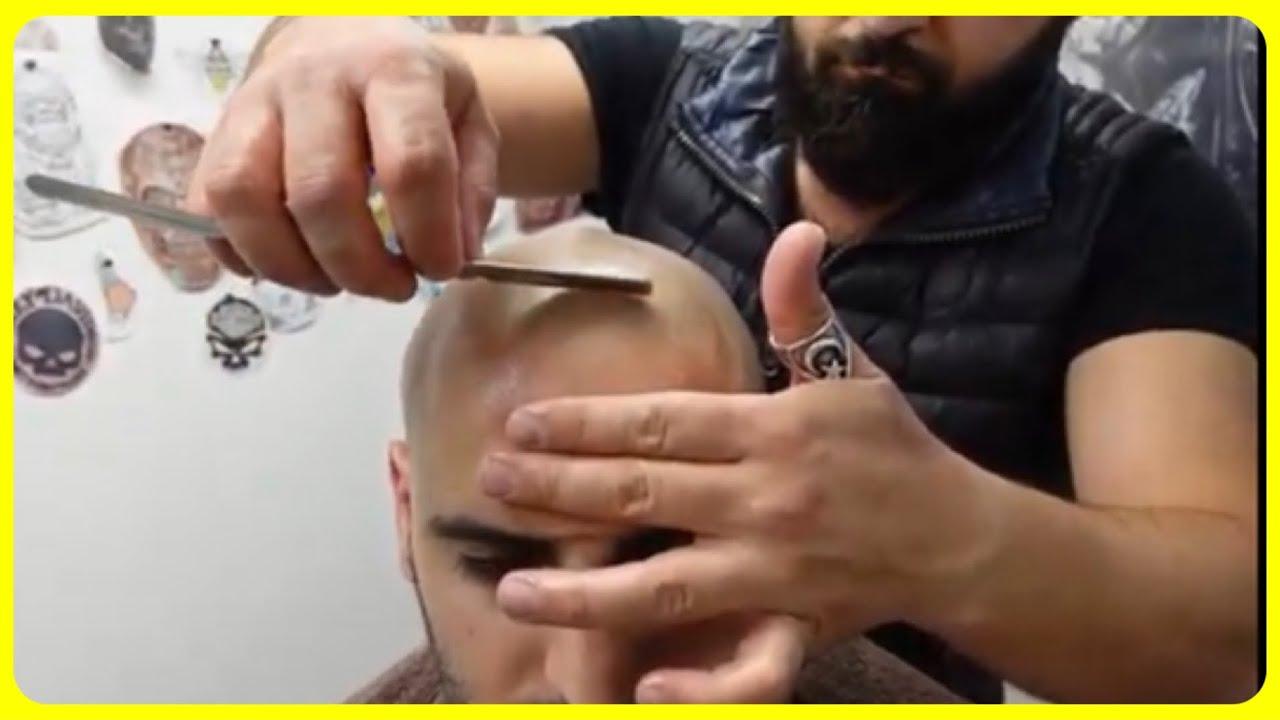 Razor wet shave ASMR Massage in Tattoo studio Barber turko