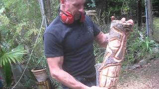 Carving An Arbutus Wood Tiki