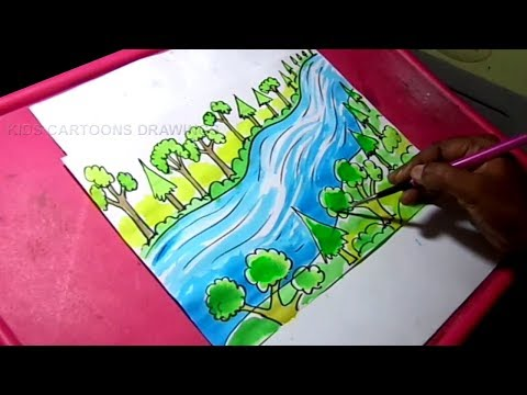 How To Draw Plant Trees Save Rivers Poster Drawing For Kids