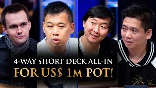 4-Way All-In for US$ 1m Short Deck Pot! | Triton Hold