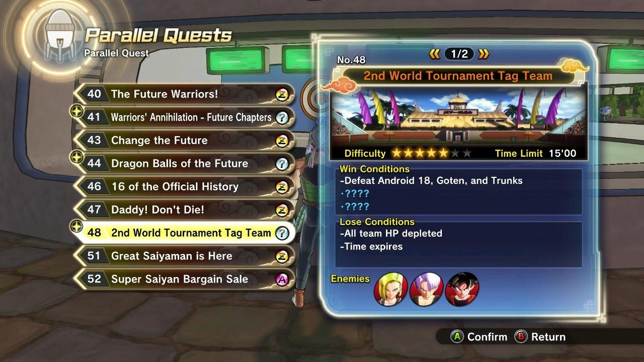 Dragon Ball Xenoverse 2 Parallel Quest