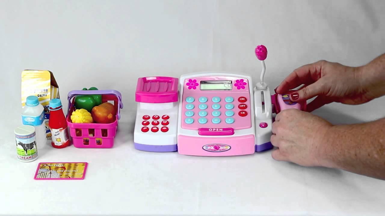 Deluxe Toy Cash Register : Deluxe cash register scanner set youtube