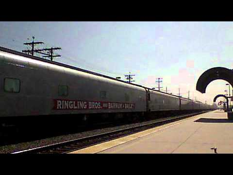 The RBB&B Circus Train passes the Burbank Airport Station. 8-15-11.