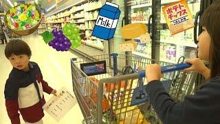 海外 スーパー お買い物 カート が山盛り!! おつかいごっこ こうくんねみちゃん Grocery Shopping Shopping Cart