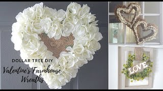 3 DOLLAR TREE VALENTINES DIY FARMHOUSE NEUTRAL WREATHS