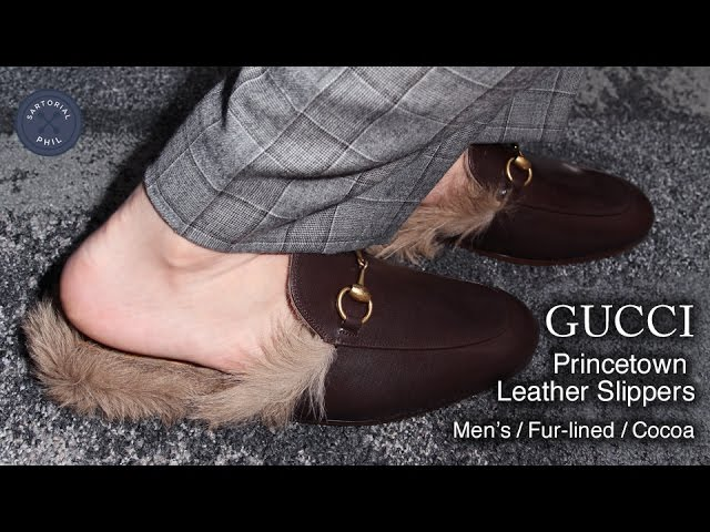 Princetown Leather Slippers Fur-lined