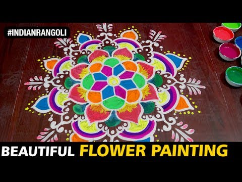 Beautiful Flower Painting Rangoli On Floor Traditional Designs At