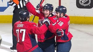 Nicklas Backstrom sets up in the slot and tips home his second goal...