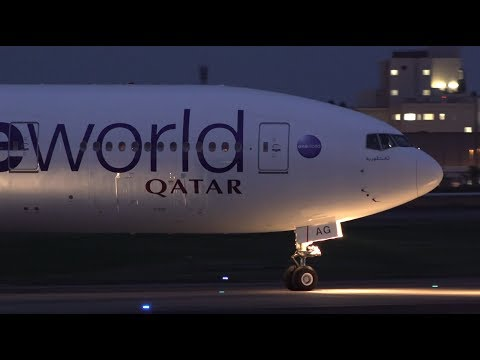 Qatar Airways Oneworld Livery Boeing 777-300ER A7-BAG Landin