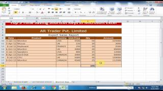 Excel Tips and Tricks : Top 5 Time Saving Shortcut Keys in Microsoft Excel