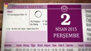 2 Nisan 2015 Perşembe Günü Diyanet Takvimi - TRT DİYANET 2017 Video