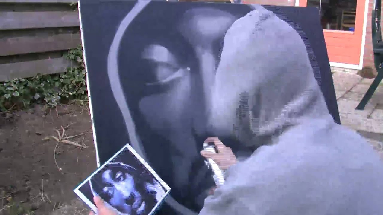 Tupac graffiti on canvas batartworks