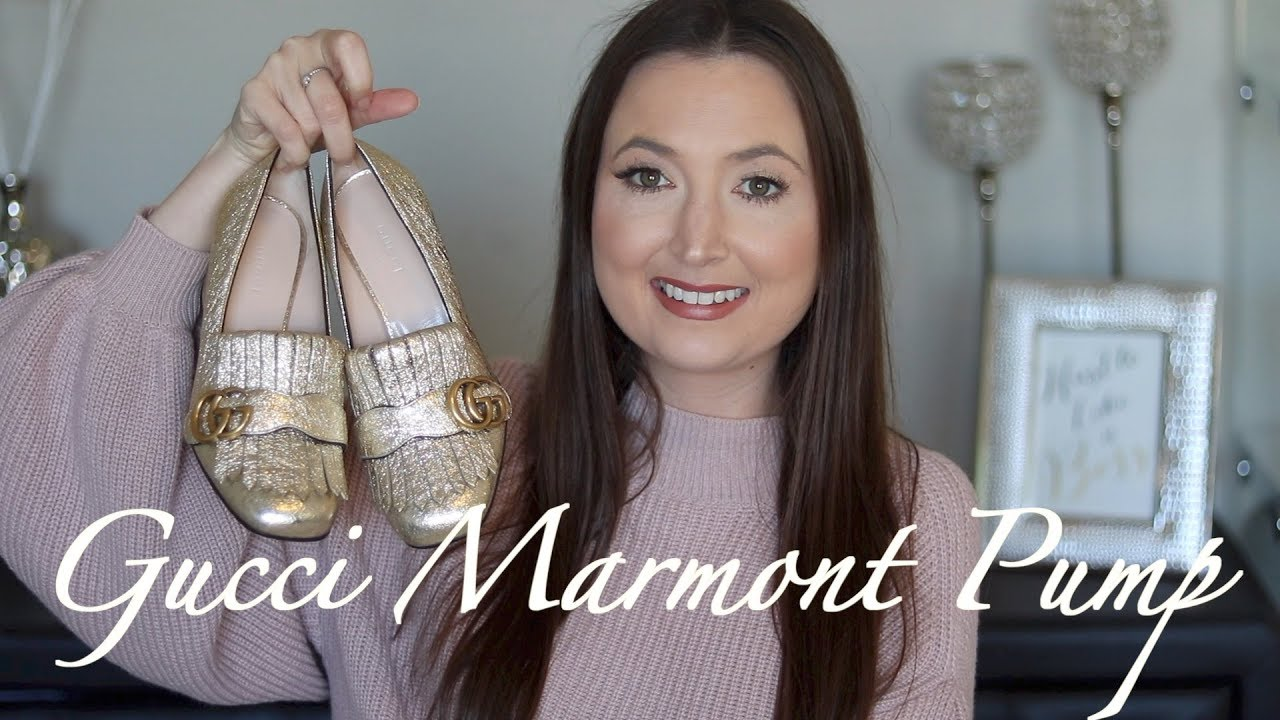 985fc6fbe95 Gucci marmont pump review - YouTube
