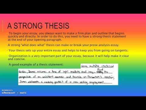 Prose Analysis Essay Video. AP Lit, 2004 Form A.