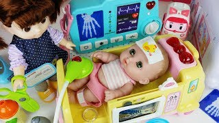 Baby Doll Ambulance and Hospital Doctor play story music - ToyMong TV 토이몽