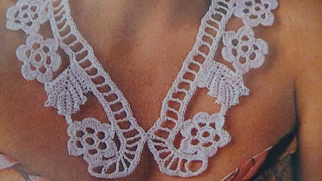 Collar/cuello tejido a crochet en cordonnet - YouTube