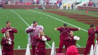 OU red  white 2010 game feat. Gerald Mccoy leading cheers..
