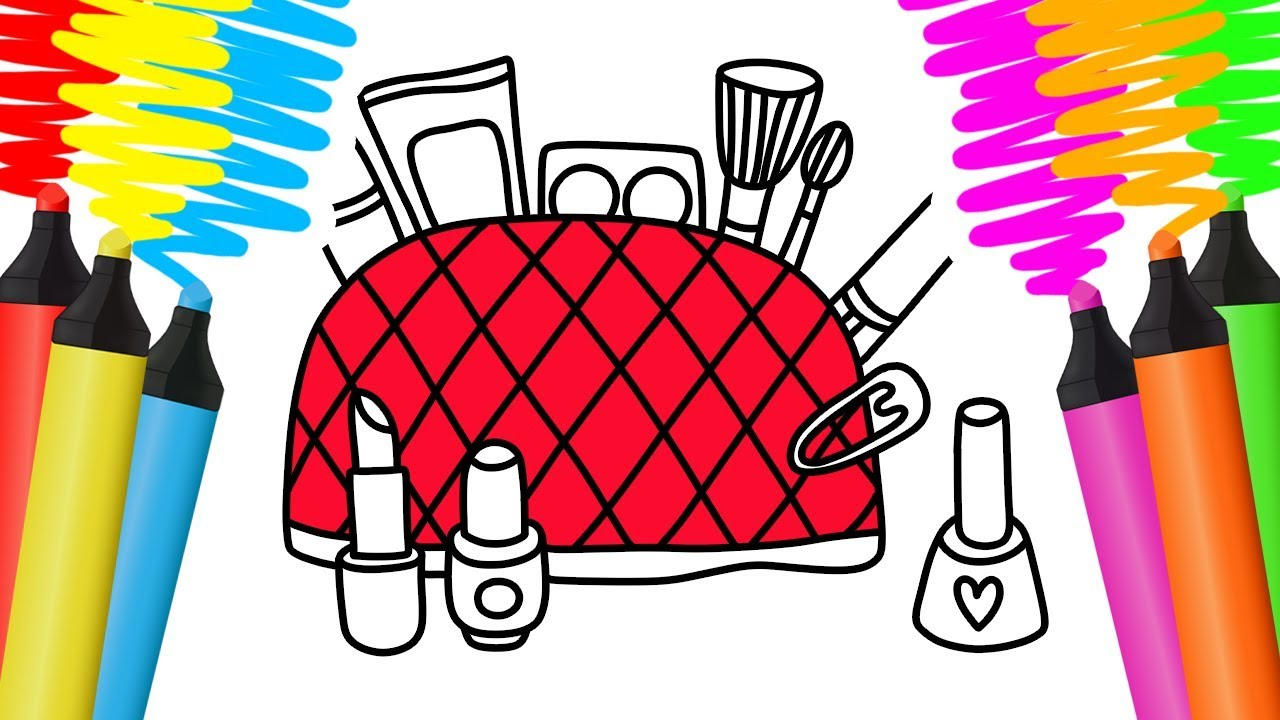 Como Desenhar E Colorir Kit De Maquiagem E Camera Pintar E