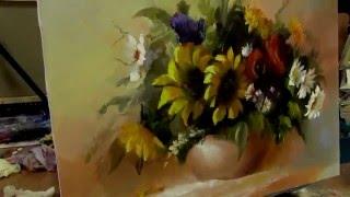Урок живописи как нарисовать подсолнухи маслом