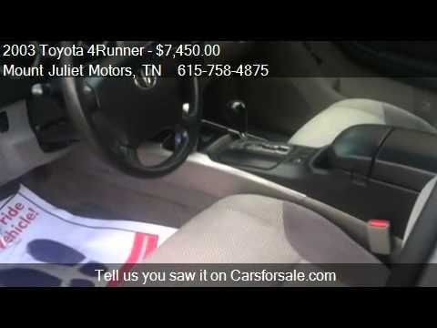 2003 Toyota 4runner Sr5 4wd For Sale In Mount Juliet Tn