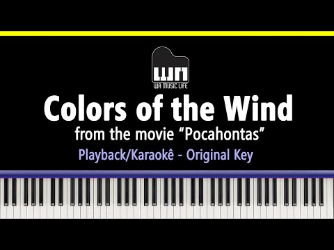 Colors of the Wind - Piano playback for Karaoke / Cover