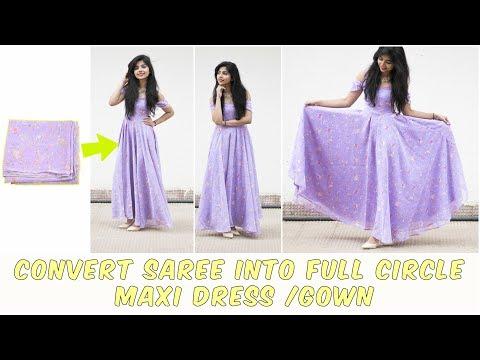 DIY: Convert Old Saree Into Long Full Circle Maxi Dress/Gown