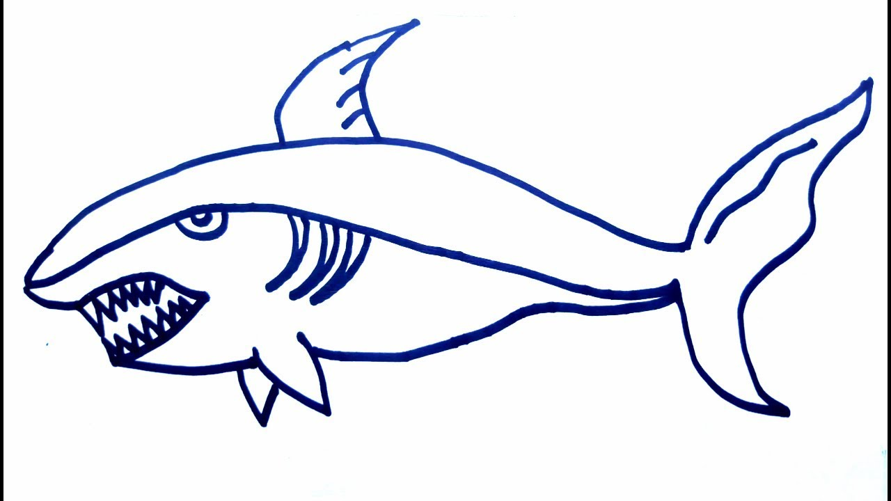 How To Draw Big Shark Fish Color Pages Draw Shark Fish1234 Easy Fish Drawing Kids Drawing Kids Fun
