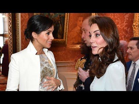 Watch Kate & Meghan's sweet exchange at Buckingham palace