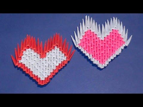 Модульное оригами для начинающих сердце Валентинка из бумажных модулей