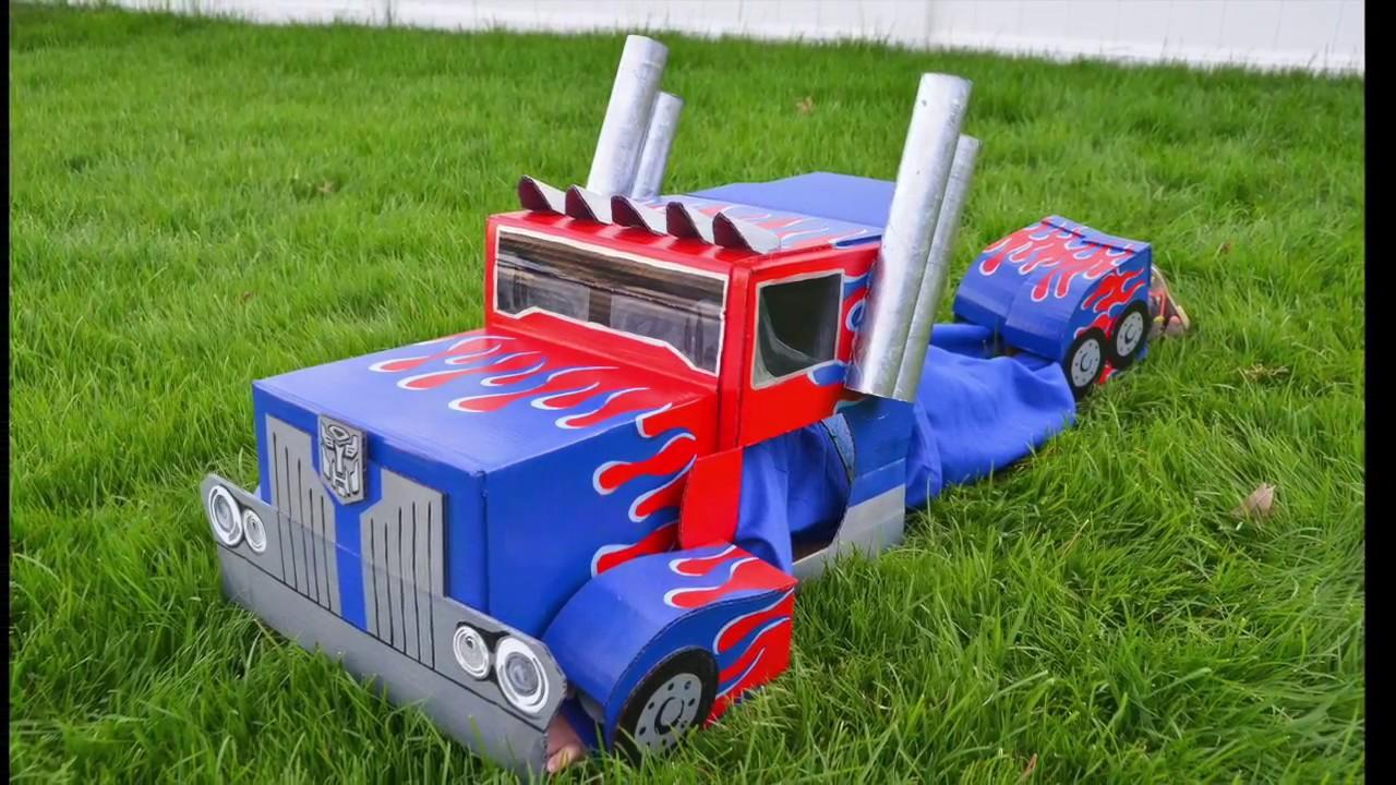 disabilità strutturali offrire sconti design unico Optimus Prime Transformers Cardboard Costume : Autobot to Semi-Truck
