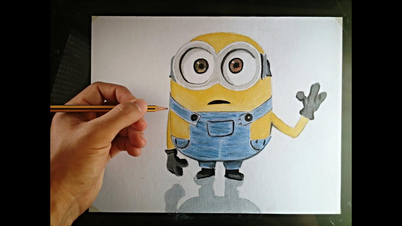 Cómo Dibujar Un Minion Con Lápices De Colores How To Draw A Minion