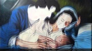 Etapas da pintura da tela Sagrada Familia